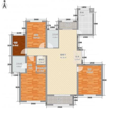 天房海天园4室1厅2卫1厨164.00㎡户型图