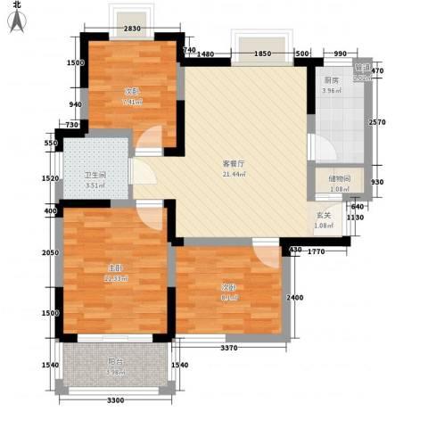 铂爵公馆3室1厅1卫1厨89.00㎡户型图