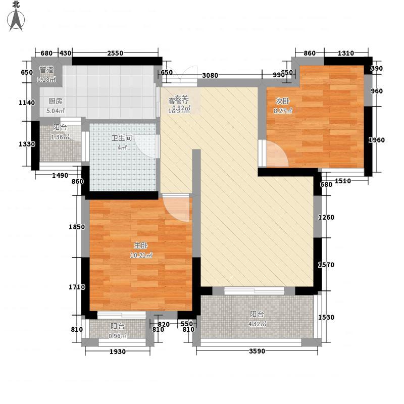 鸿发翰林府84.86㎡2、3号楼A-1户型2室2厅1卫1厨
