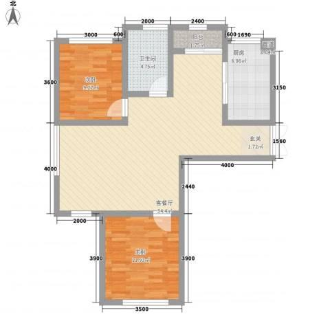 天房海天园2室1厅1卫1厨98.00㎡户型图
