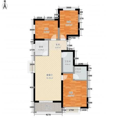 芳清苑3室1厅2卫1厨85.63㎡户型图