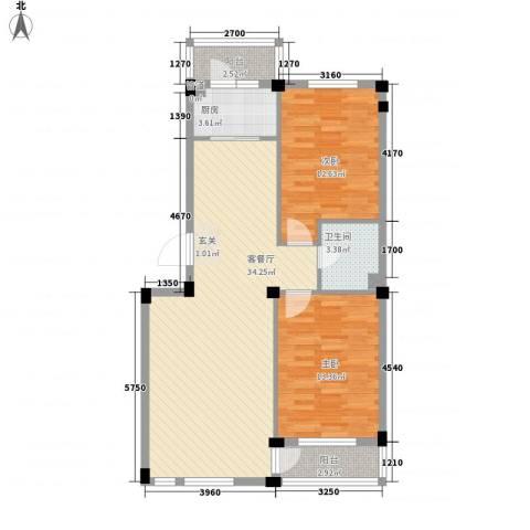 长鹭・晶品缘林2室1厅1卫1厨88.00㎡户型图