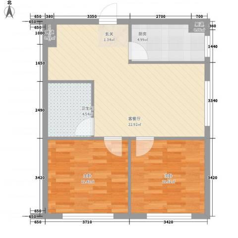 叠翠骏景2室1厅1卫1厨76.00㎡户型图
