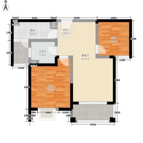 平岗星苑2室1厅1卫1厨91.00㎡户型图