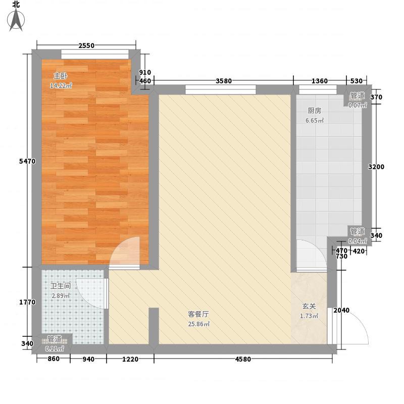 阅读莱茵7.50㎡13#5A反户型1室1厅1卫1厨