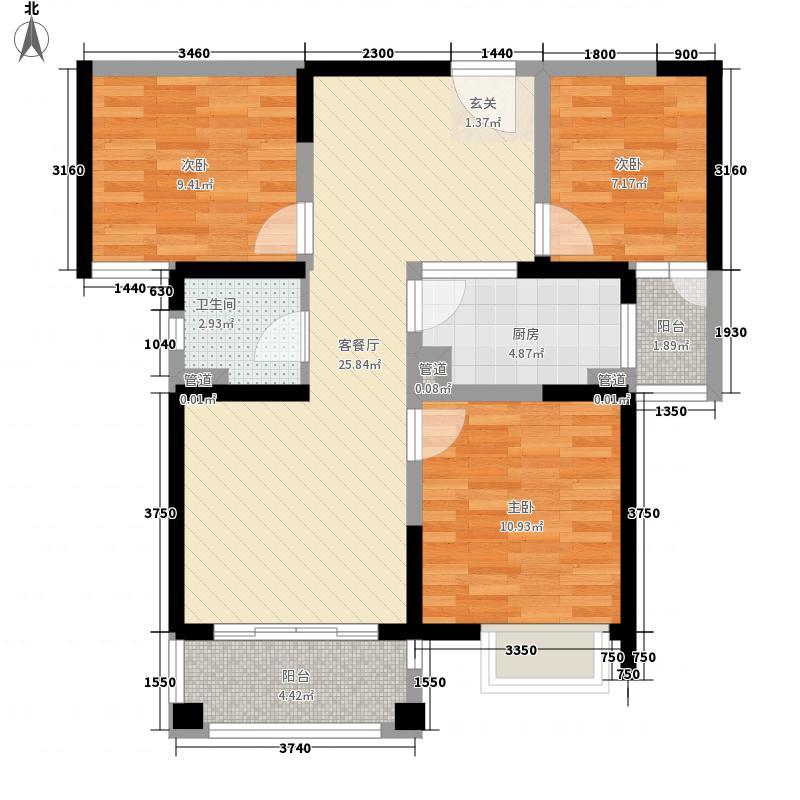平岗星苑100.00㎡B户型(3/6#楼)户型3室2厅1卫1厨