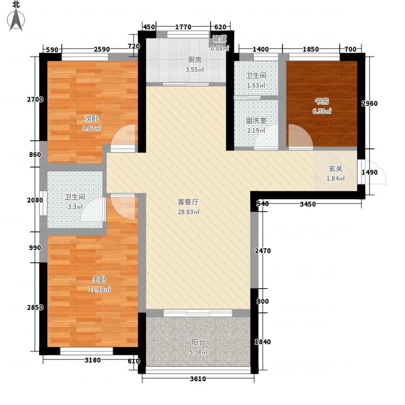 天纵城15.00㎡1、3号楼E1户型3室2厅1卫1厨