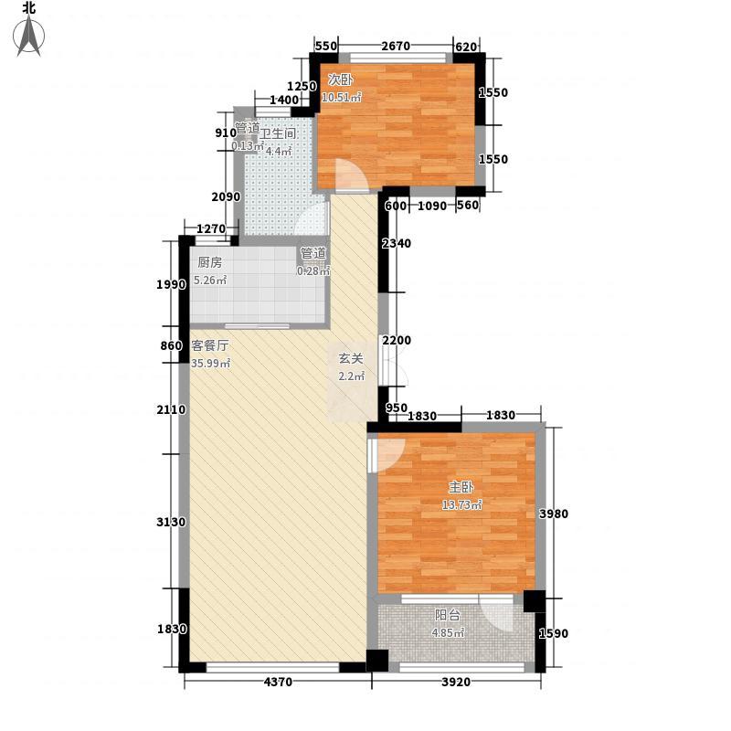 绿城玉兰花园17.00㎡2号楼B2户型2室2厅1卫1厨