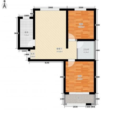 芳清苑2室1厅1卫1厨59.86㎡户型图