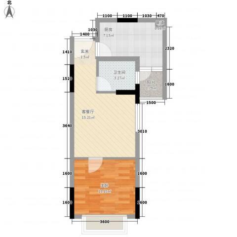 恒隆明珠1室1厅1卫1厨55.00㎡户型图