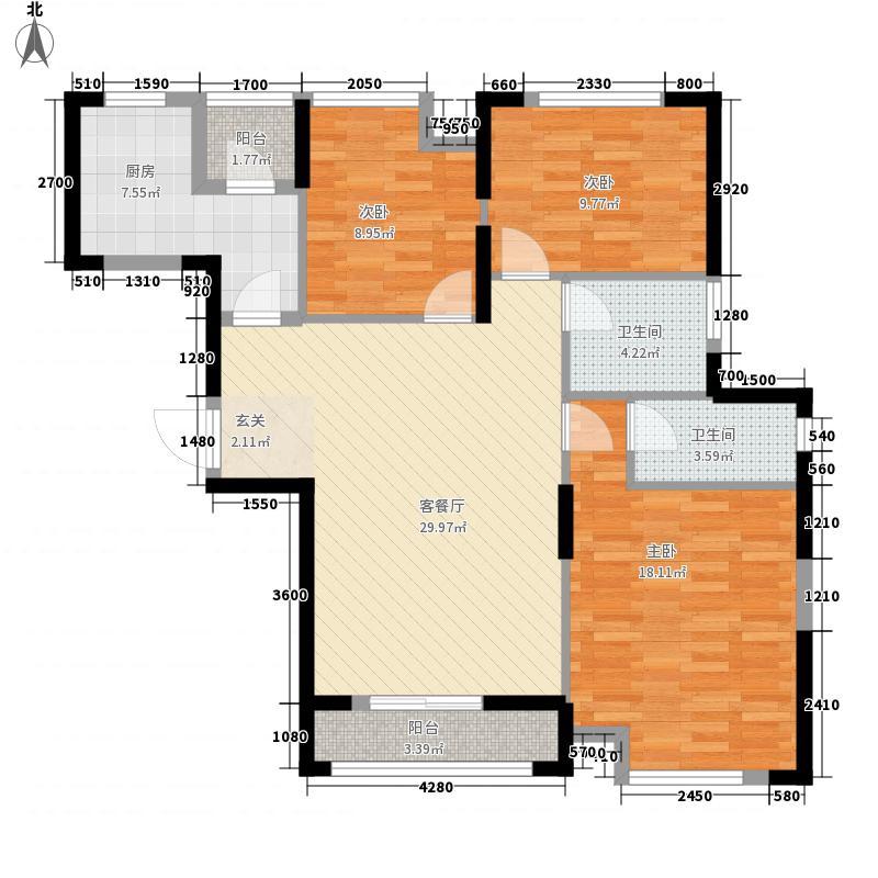 维佳武昌府二期和郡3室1厅2卫1厨87.31㎡户型图