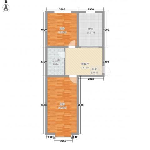 文德楼2室1厅1卫1厨90.00㎡户型图
