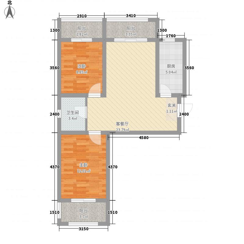 凤凰苑3.42㎡B户型2室2厅1卫1厨