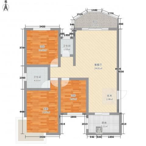 怡富花园3室1厅2卫1厨85.15㎡户型图
