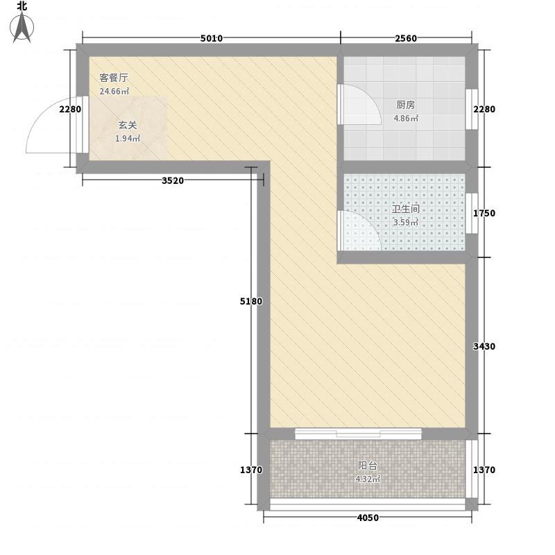 华安丽景68.00㎡10#H5户型1室1厅1卫1厨