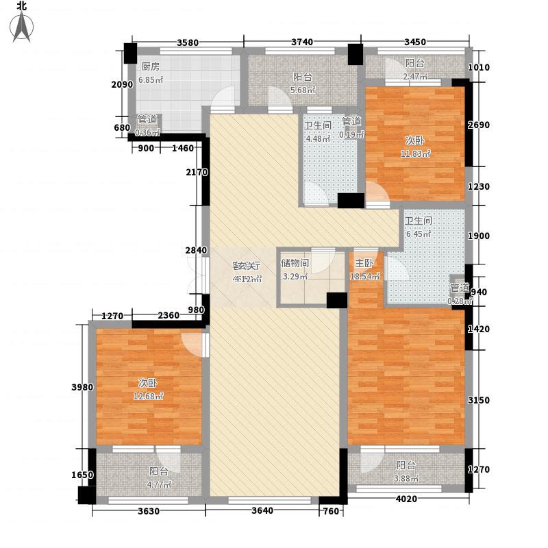 绿城玉兰花园16.64㎡1#楼C-2户型3室2厅2卫