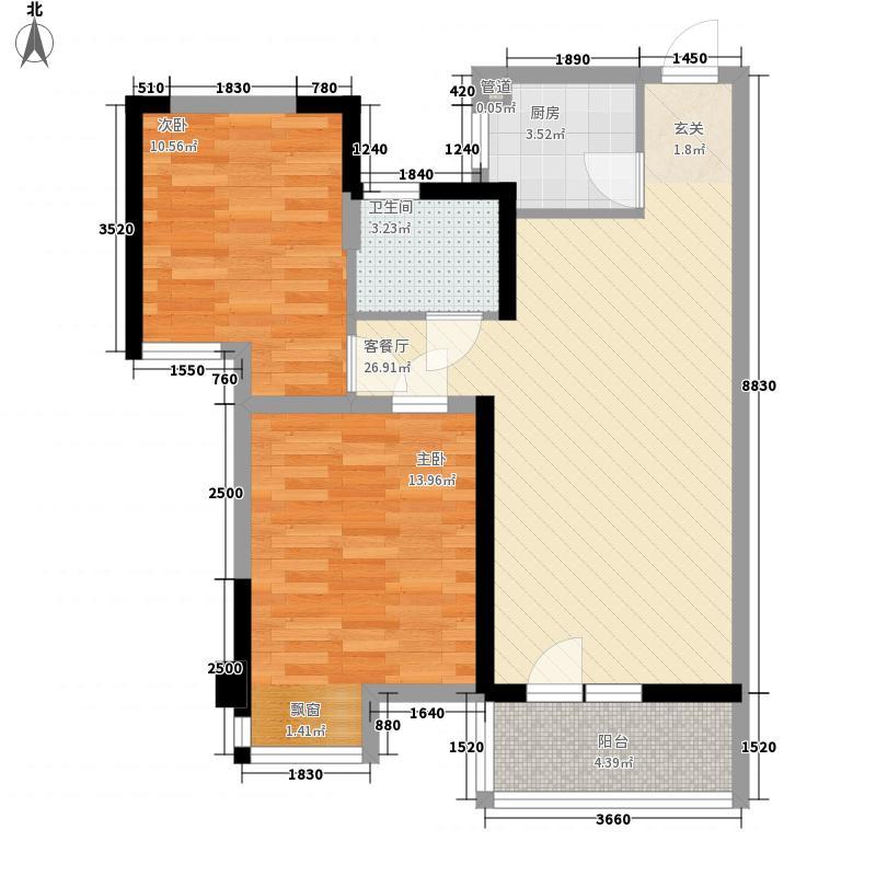 汉江湾壹号85.20㎡1栋4栋2R-02户型2室2厅1卫1厨