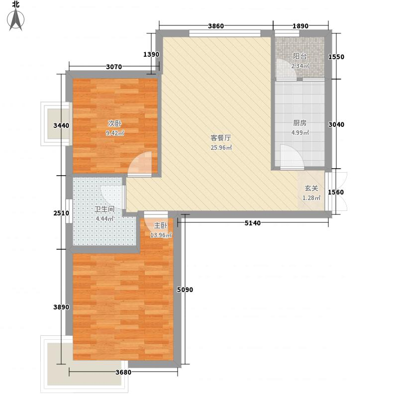国隆・幸福城85.10㎡3号楼D户型2室1厅1卫1厨