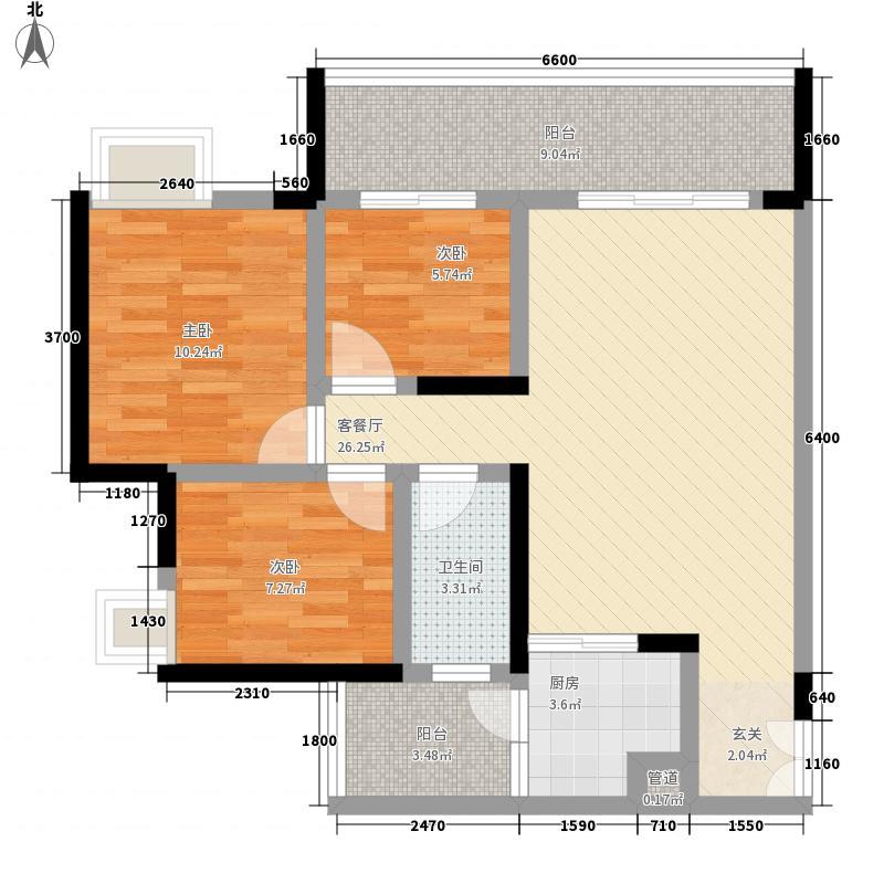 盛聪左岸春天4.71㎡一期2号楼标准层A2户型3室2厅1卫