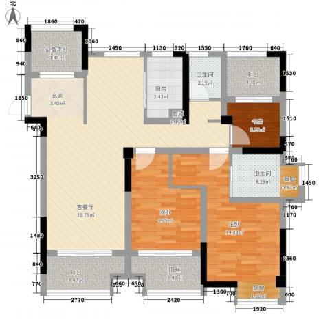 宝能城市广场3室1厅2卫1厨124.00㎡户型图