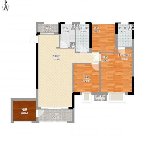 怡丰君逸名轩4室1厅2卫1厨118.00㎡户型图
