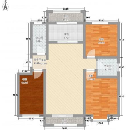 尚港华府3室1厅2卫1厨111.00㎡户型图