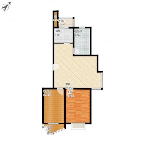 恒通花园1室1厅1卫1厨97.00㎡户型图