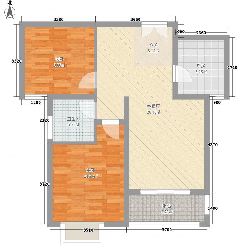 国泰一品庄园2室1厅1卫1厨62.82㎡户型图
