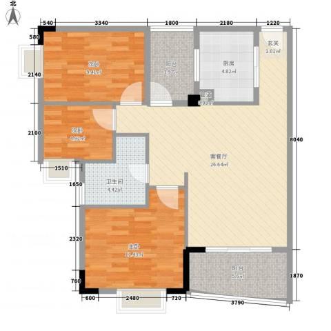 华南御景园3室1厅1卫1厨91.00㎡户型图