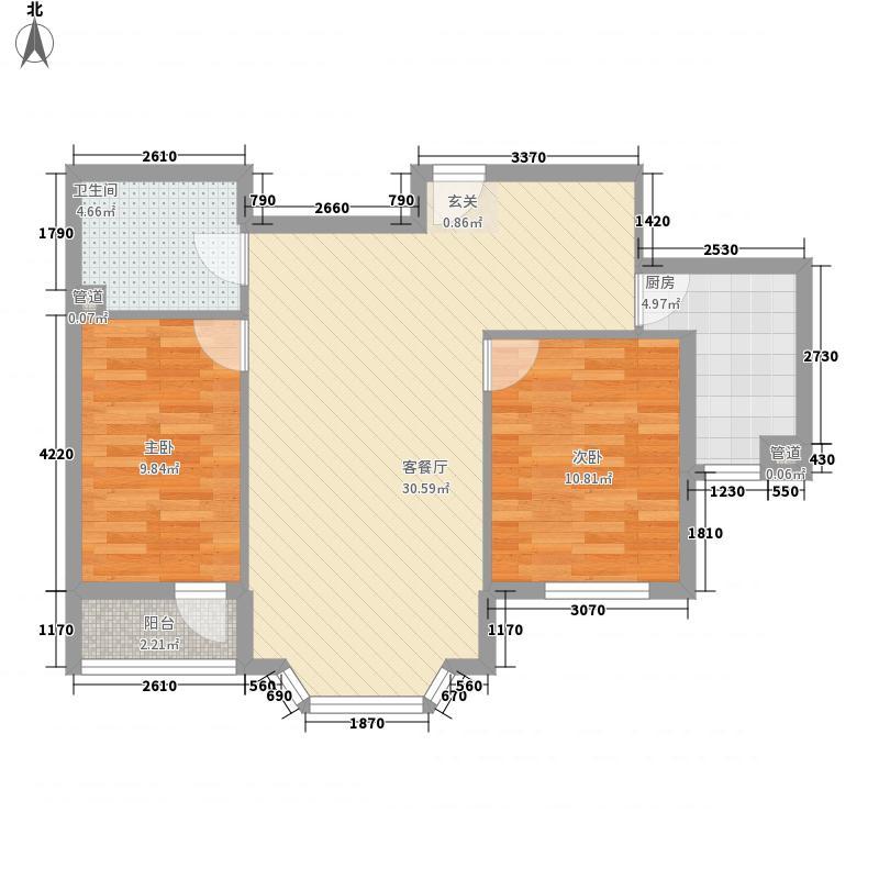 竹园8.80㎡小区户型2室2厅2卫1厨