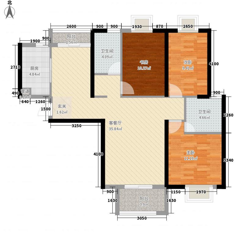 电建地产盛世江城3室1厅2卫1厨124.00㎡户型图