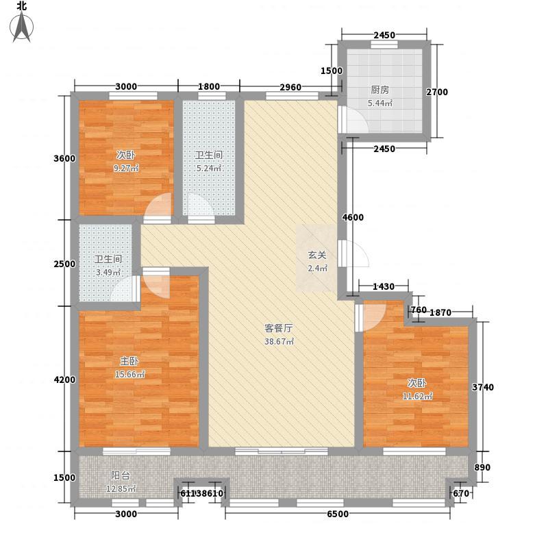 厚德福城152.00㎡6号楼B户型3室2厅2卫1厨