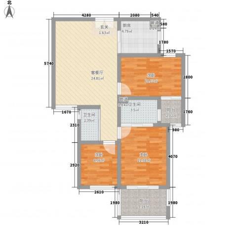 锦绣大地城一期3室1厅2卫1厨104.00㎡户型图
