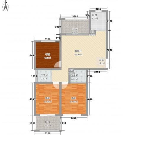 锦绣大地城一期3室1厅2卫1厨117.00㎡户型图