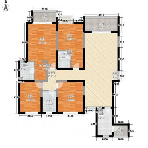名门华都4室1厅3卫1厨194.00㎡户型图