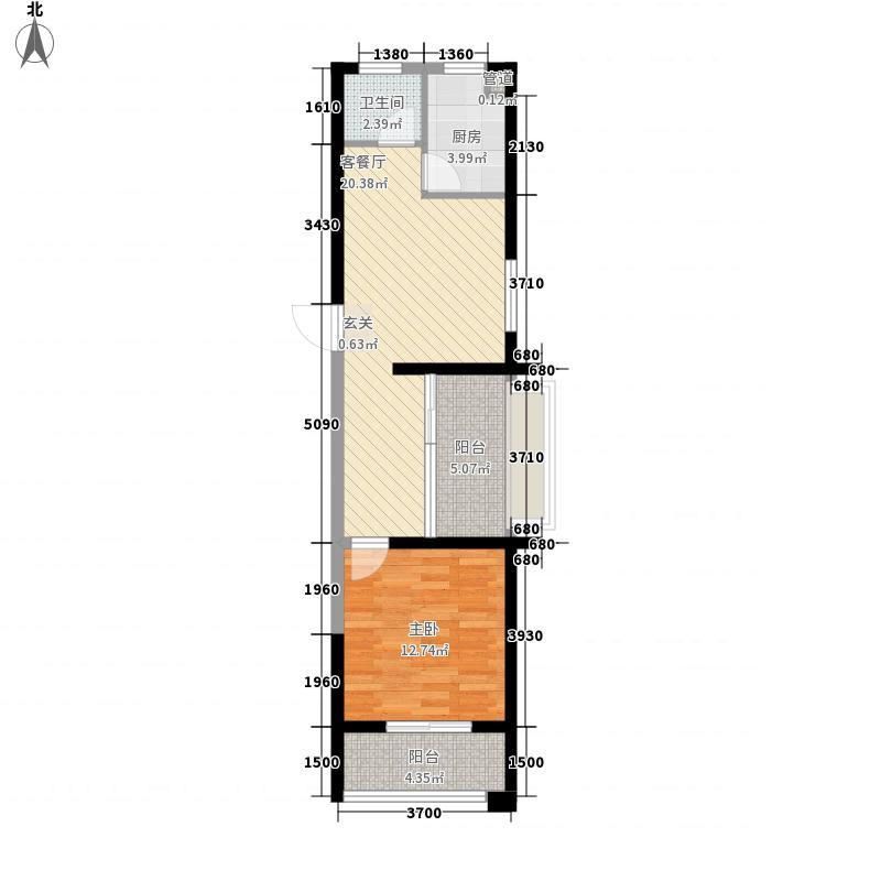 春晖园户型图E1户型 1室2厅1卫1厨