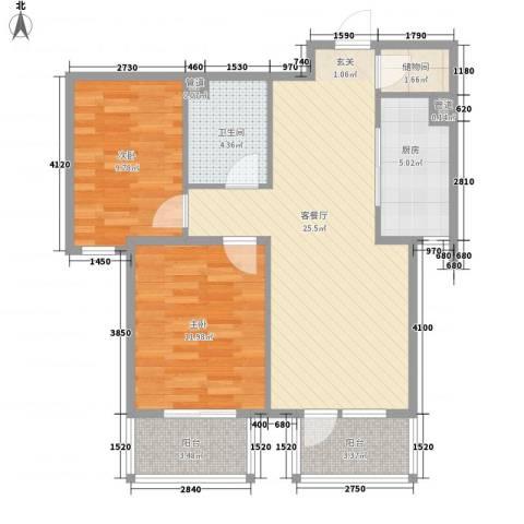 鸿城国际2室1厅1卫1厨89.00㎡户型图