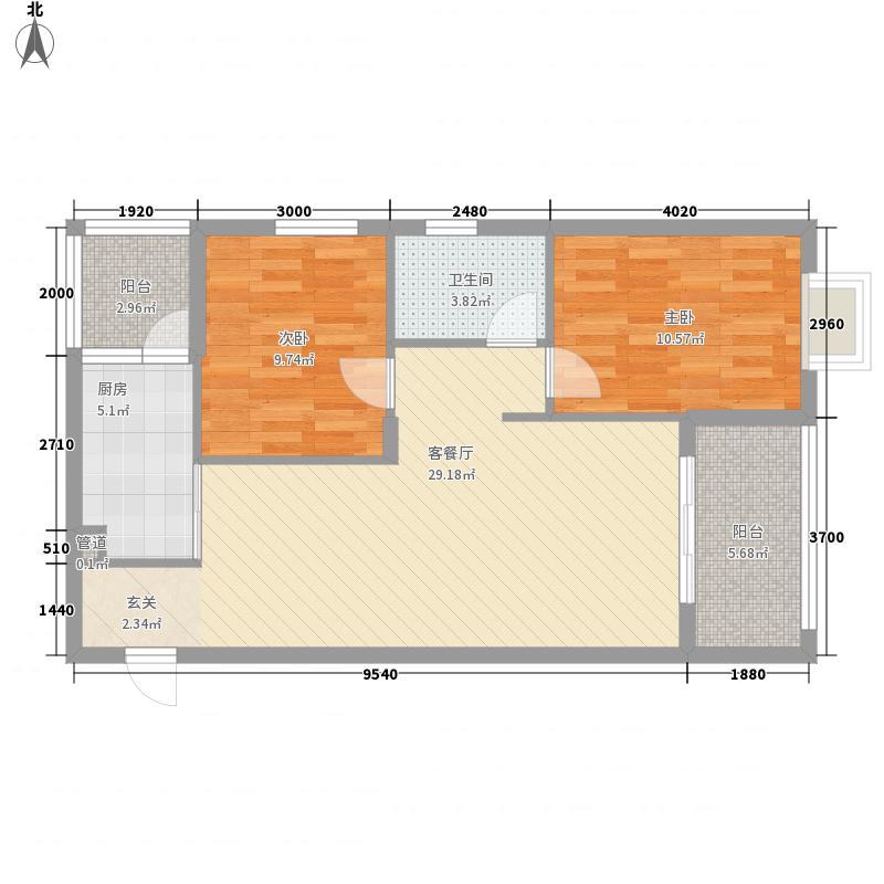 双达领航大厦6.46㎡F户型2室2厅1卫1厨