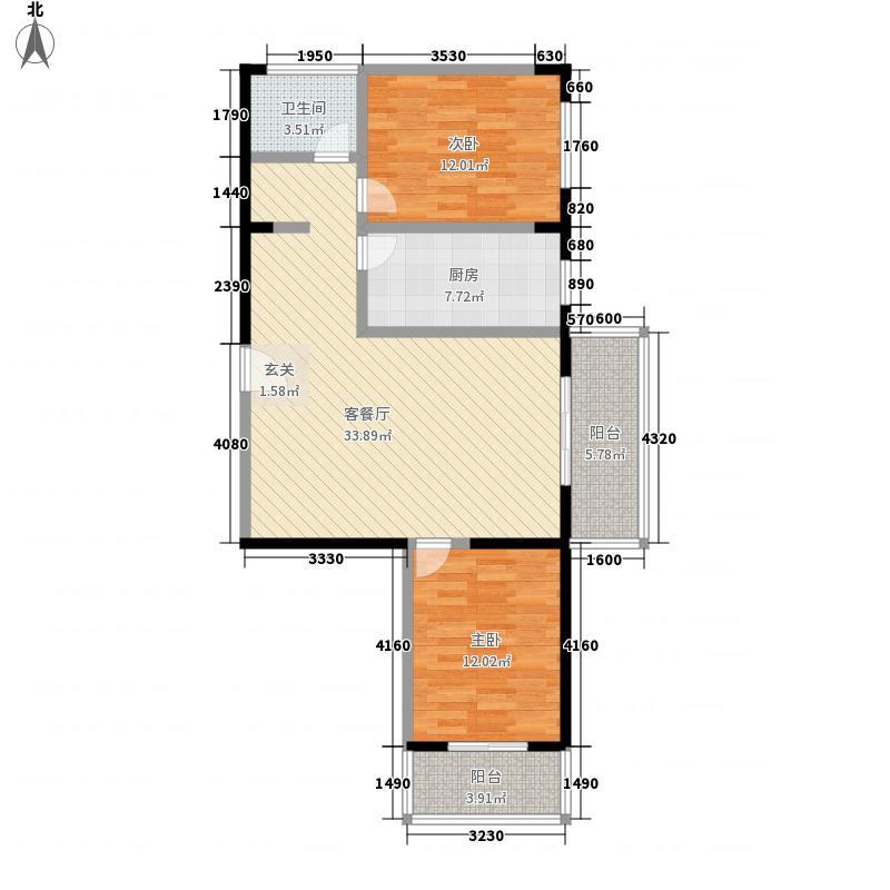 田园之家111.12㎡D户型2室1厅1卫1厨