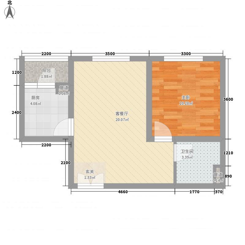 乳海园小区1户型1室2厅1卫1厨