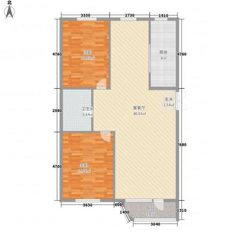 枫岚雅筑2室1厅1卫1厨103.99㎡户型图