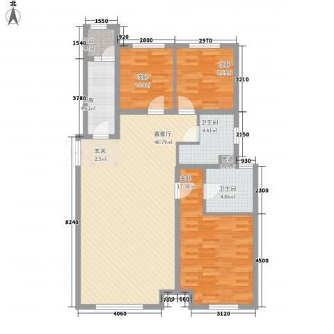 和美紫晶花园3室1厅2卫1厨143.00㎡户型图