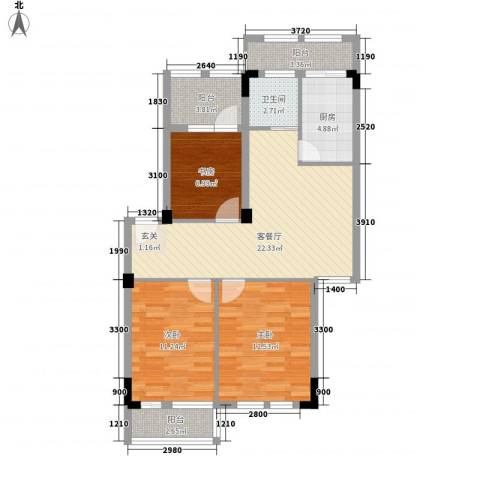格兰春天3室1厅1卫1厨84.00㎡户型图