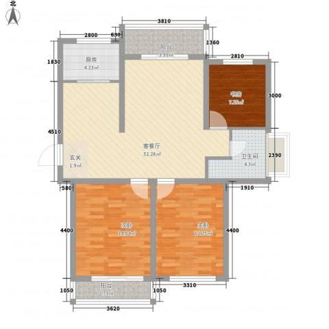 格兰春天3室1厅1卫1厨115.00㎡户型图