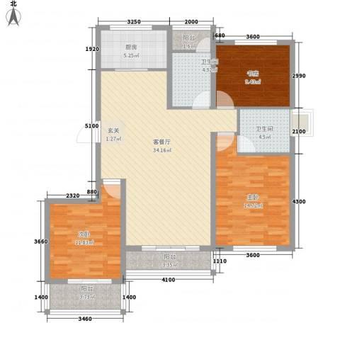 格兰春天3室1厅2卫1厨128.00㎡户型图