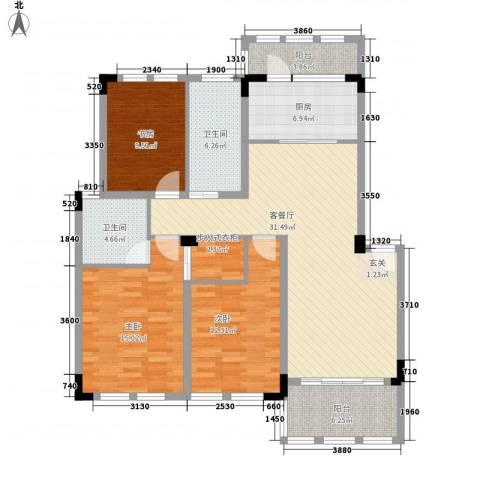 格兰春天3室1厅2卫1厨125.00㎡户型图