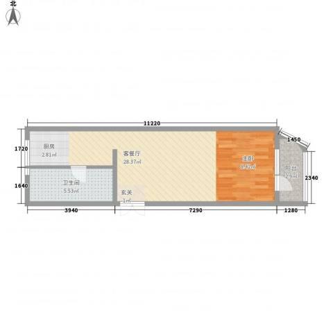 枫岚雅筑1厅1卫0厨41.37㎡户型图