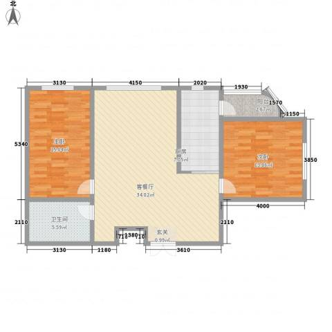 枫岚雅筑2室1厅1卫1厨87.00㎡户型图