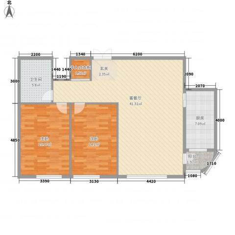 枫岚雅筑2室1厅1卫1厨95.00㎡户型图
