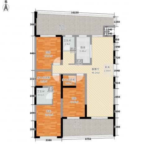 道生中心3室1厅2卫1厨196.00㎡户型图